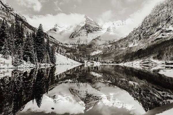 Photograph - Aspen Maroon Bells Sepia Mountain Landscape by Gregory Ballos