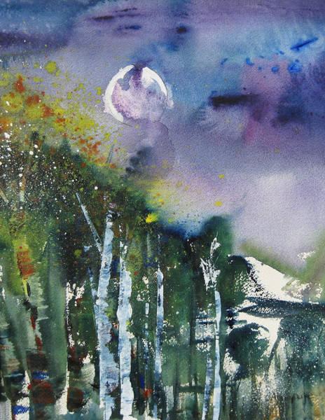 Flagstaff Painting - Aspen Moon by Anne Duke