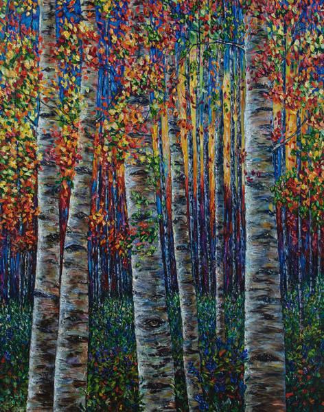 Painting - Aspen Symphony Palette Knife  by OLena Art - Lena Owens