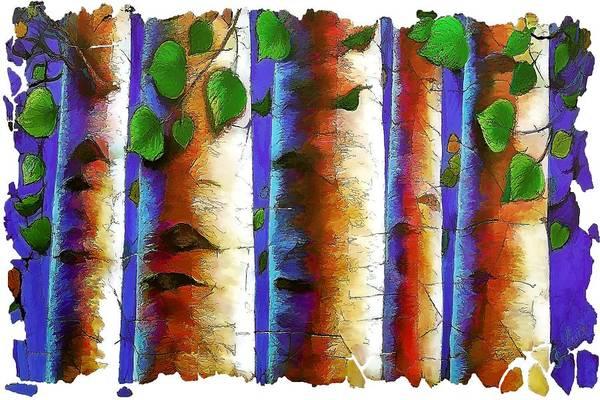 Digital Art - Aspen Trees Fresco by OLena Art Brand