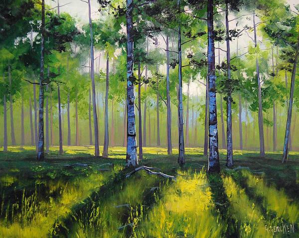 Sunlight Wall Art - Painting - Aspen Trees by Graham Gercken
