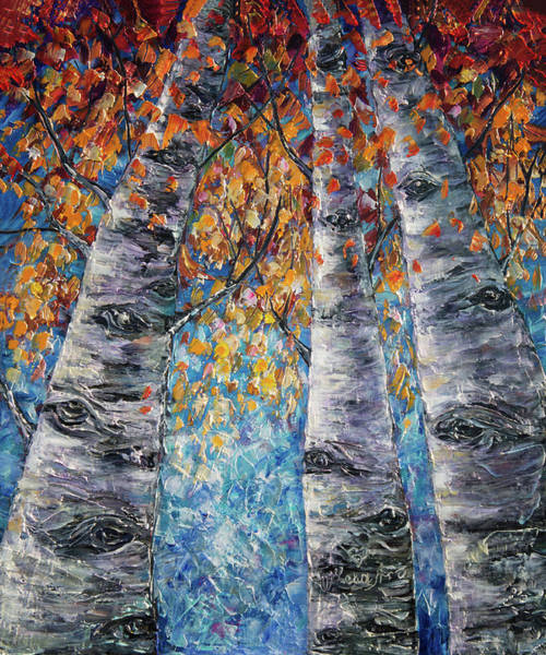 Painting - Aspen Trees  by OLena Art - Lena Owens