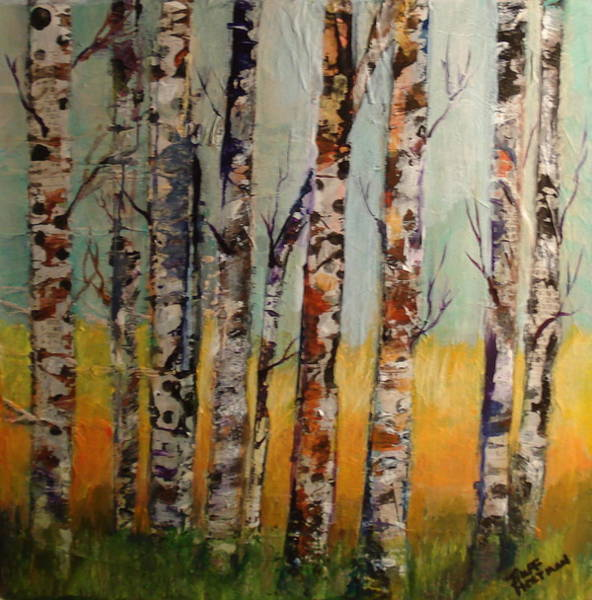 Open Space Mixed Media - Aspens by Buff Holtman