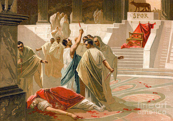Wall Art - Painting - Assassination Of Julius Caesar by Spanish School