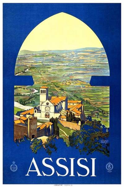 Azure Painting - Assisi Italy - Vintage Travel Poster - Landscape Painting by Studio Grafiikka