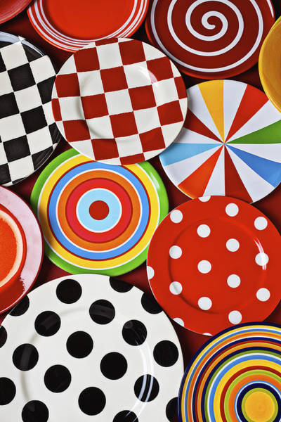 Platter Photograph - Assorted Colorful Plates by Garry Gay