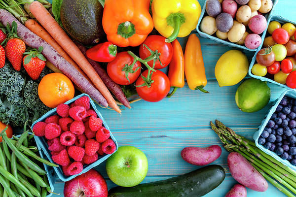Photograph - Assorted Fruits And Vegetables Background by Teri Virbickis