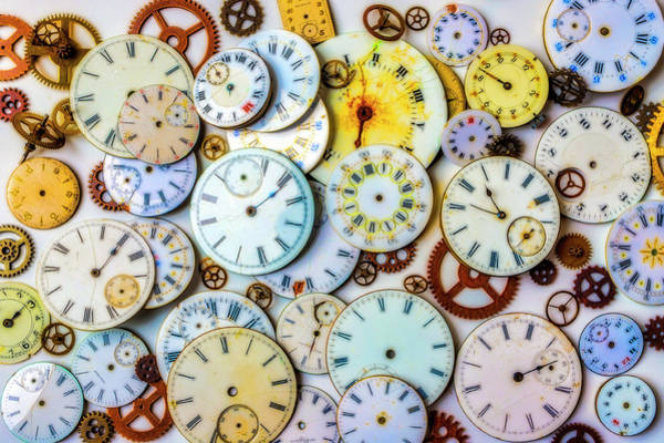 Wall Art - Photograph - Assorted Watch Faces And Gears by Garry Gay