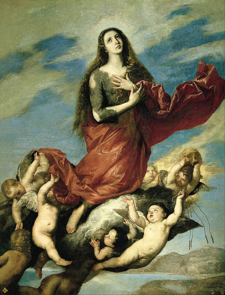 Painting - Assumption Of Mary Magdalene by Jusepe de Ribera
