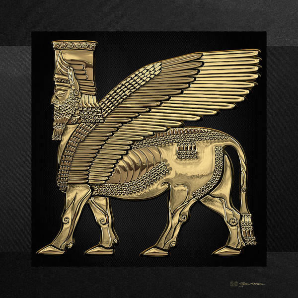 Digital Art - Assyrian Winged Bull - Gold Lamassu Over Black Canvas by Serge Averbukh