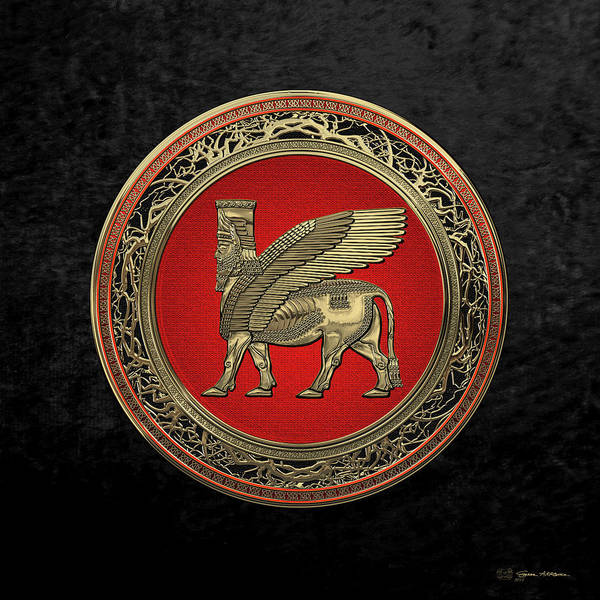 Digital Art - Assyrian Winged Bull - Gold Lamassu Over Black Velvet by Serge Averbukh