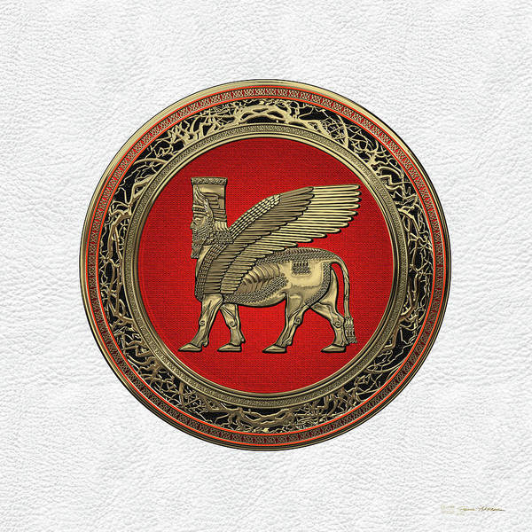 Digital Art - Assyrian Winged Bull - Gold Lamassu Over White Leather by Serge Averbukh