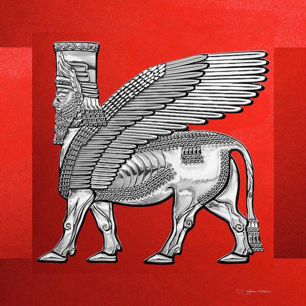 Digital Art - Assyrian Winged Bull - Silver Lamassu Over Red Canvas by Serge Averbukh