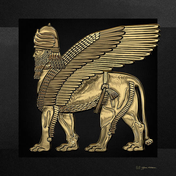 Digital Art - Assyrian Winged Lion - Gold Lamassu Over Black Canvas by Serge Averbukh