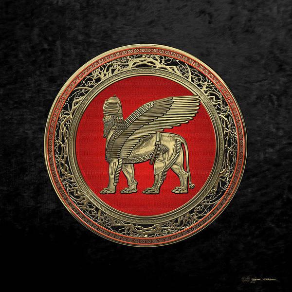 Digital Art - Assyrian Winged Lion - Gold Lamassu Over Black Velvet by Serge Averbukh