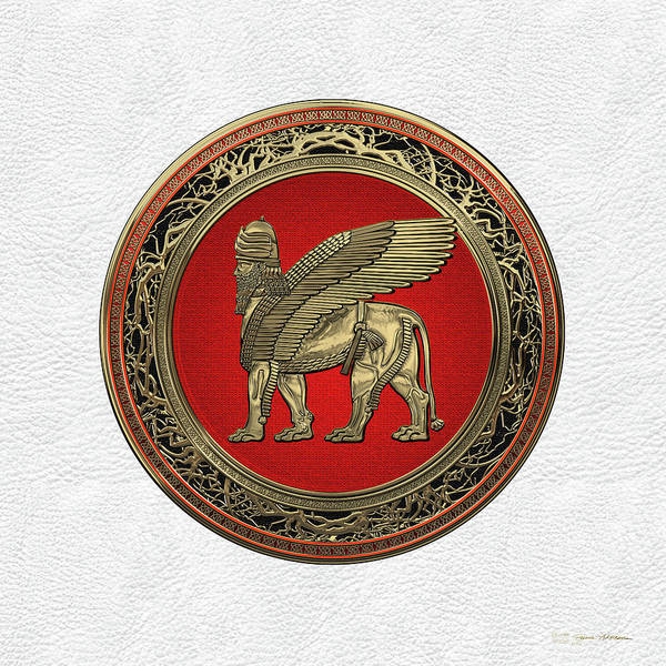 Digital Art - Assyrian Winged Lion - Gold Lamassu Over White Leather by Serge Averbukh