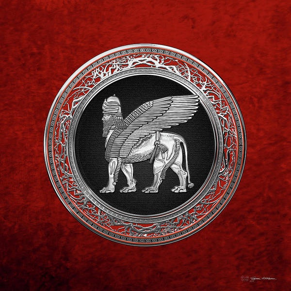 Digital Art - Assyrian Winged Lion - Silver Lamassu Over Red Velvet by Serge Averbukh