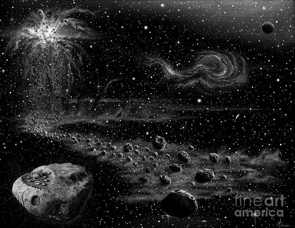 Cosmos Drawing - Asteroid Colony by Murphy Elliott