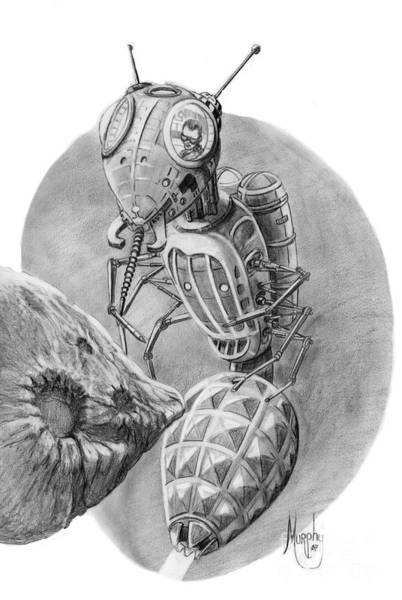 Cosmos Drawing - Asteroid Mining Craft by Murphy Elliott