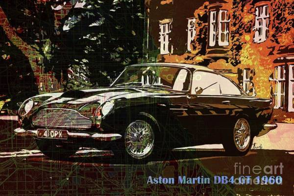 Old Car Drawing - Aston Martin Db4 Gt 1960 On Old Chicago Map by Drawspots Illustrations