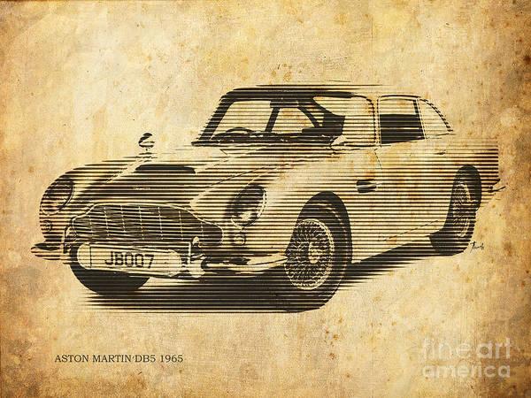 Db5 Wall Art - Painting - Aston Martin Db5 1965 by Drawspots Illustrations