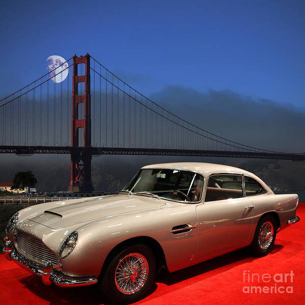 Db5 Wall Art - Photograph - Aston Martin Db5 Under The Golden Gate Moon by Wingsdomain Art and Photography