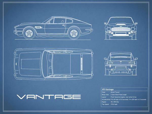 Aston Martin V8 Vantage Blueprint Art Print