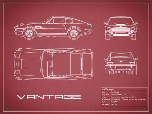 Wall Art - Photograph - Aston Martin V8 Vantage Blueprint - Red by Mark Rogan
