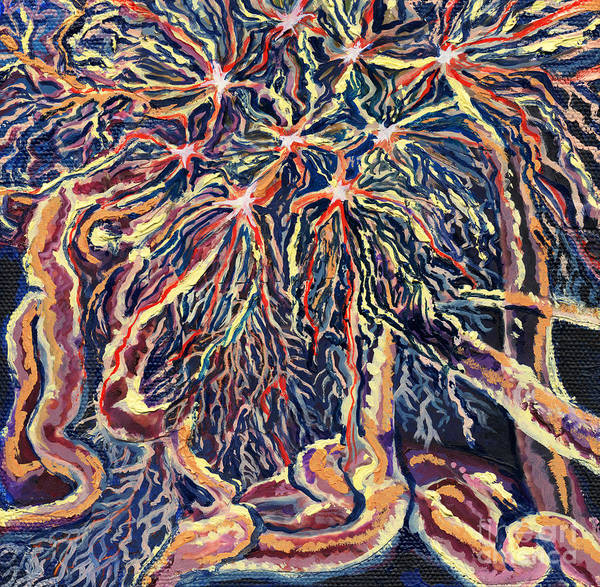 Brain Cell Painting - Astrocytes Microbiology Landscapes Series by Emily McLaughlin