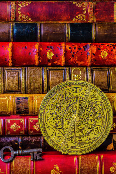 Minute Photograph - Astrolabe And Old Books by Garry Gay