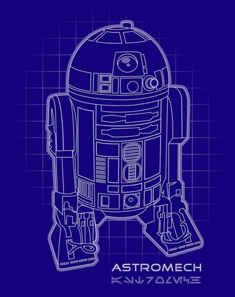 Star Wars Wall Art - Digital Art - Astromech Blueprint by Edward Draganski