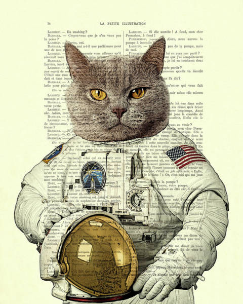 Beautiful Cats Wall Art - Digital Art - Astronaut Cat Illustration by Madame Memento