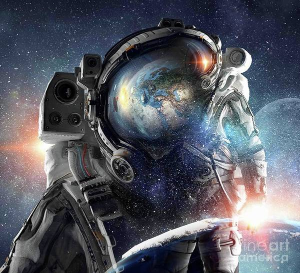 Empyrean Digital Art - Astronaut Helmet Head Action In Outer Space Galaxy  by Dhiya Abbas
