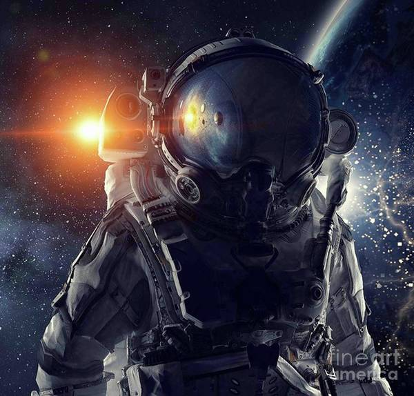 Empyrean Digital Art - Astronaut Helmet Head In Outer Space Galaxy 2 by Dhiya Abbas