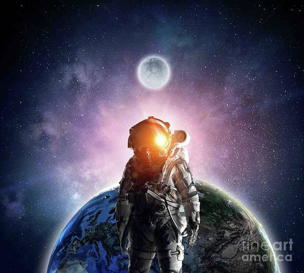 Empyrean Digital Art - Astronaut In Outer Space Galaxy 2 by Dhiya Abbas