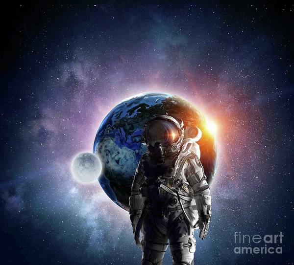 Empyrean Digital Art - Astronaut In Outer Space Galaxy by Dhiya Abbas
