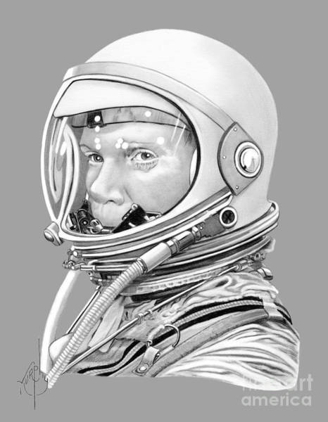 Astronaut Drawing - Astronaut John Glenn by Murphy Elliott