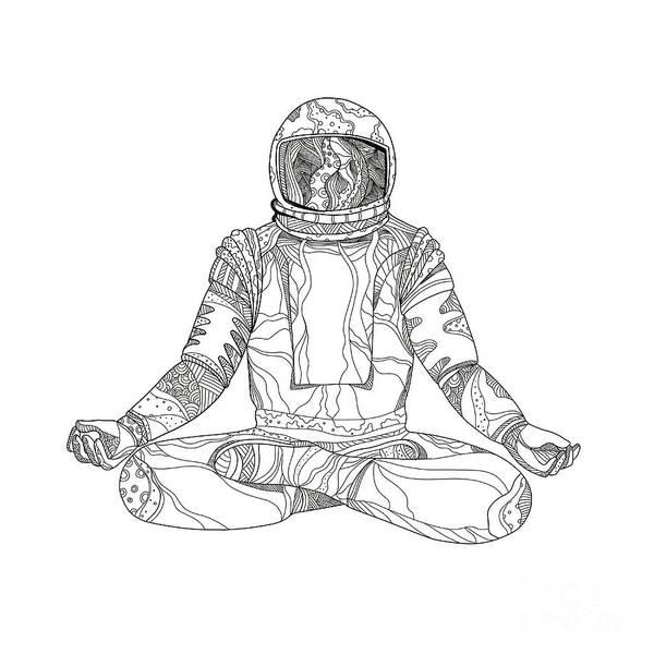 Wall Art - Digital Art - Astronaut Lotus Position Mandala by Aloysius Patrimonio