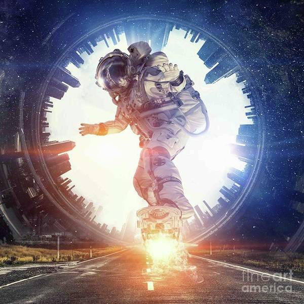 Empyrean Digital Art - Astronaut Skating  In The Road Art  by Dhiya Abbas