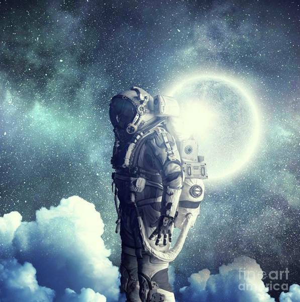Empyrean Digital Art - Astronaut Standing In The Clouds And Moon Behind Him by Dhiya Abbas