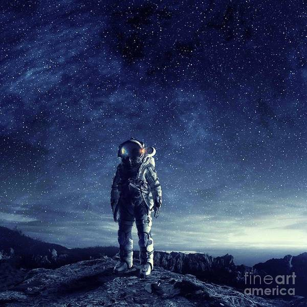 Empyrean Digital Art - Astronaut Standing On Mars Alone by Dhiya Abbas