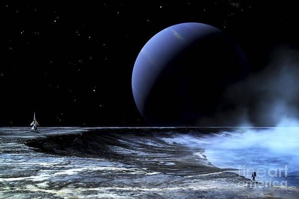 Extraterrestrial Digital Art - Astronaut Standing On The Edge by Frank Hettick