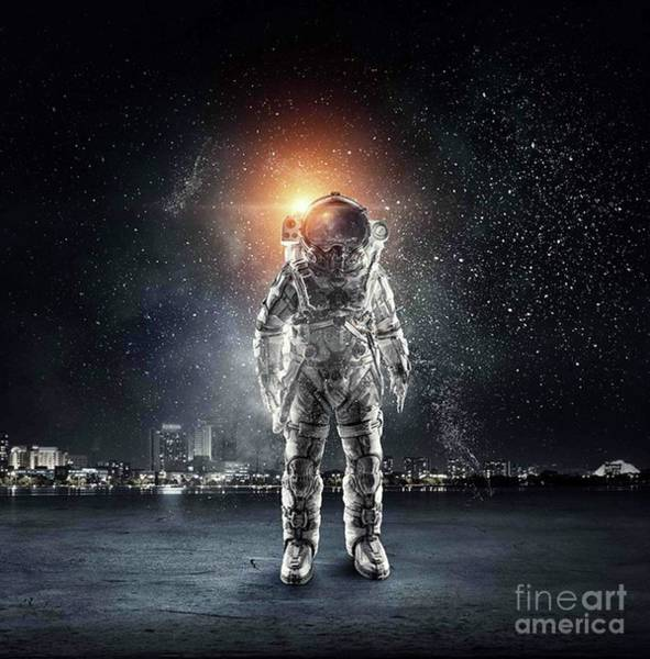 Empyrean Digital Art - Astronaut Standing Onin The City Alone by Dhiya Abbas