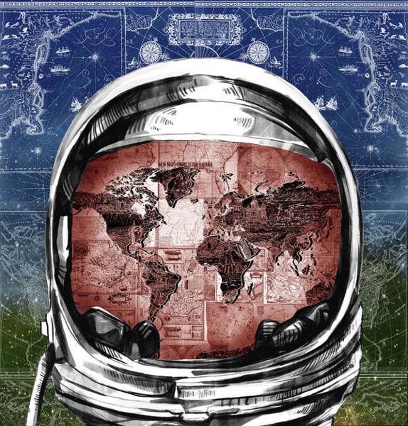 Wall Art - Painting - Astronaut World Map 3 by Bekim M