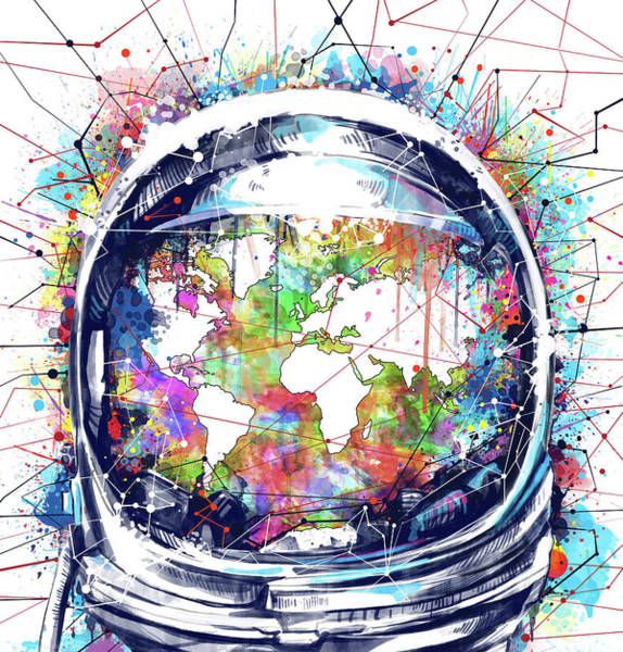 Cosmos Painting - Astronaut World Map 6 by Bekim M