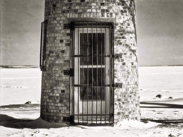 Photograph - Asylum Lighthouse Door Bw by Joan Carroll