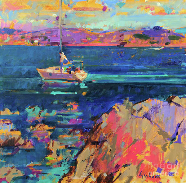 Wall Art - Painting - At Anchor, St Tropez Coast by Peter Graham