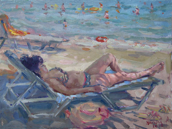 Wall Art - Painting - At Dilesi Beach Athens by Ylli Haruni