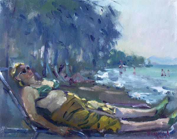 Athens Wall Art - Painting - At Dilesi Beach Greece by Ylli Haruni