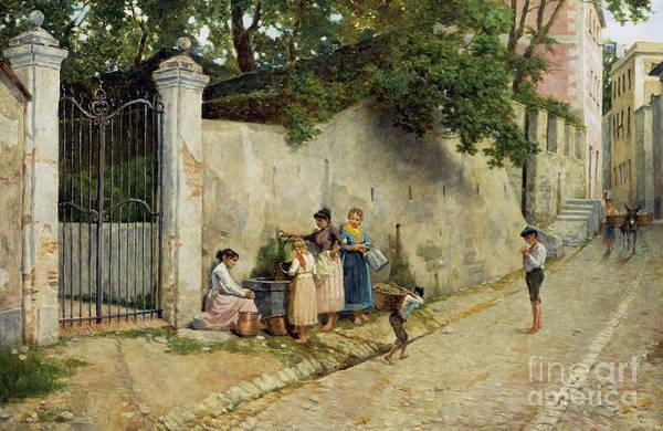 Narrow Street Painting - At Fountain by Bartolomeo Giuliano